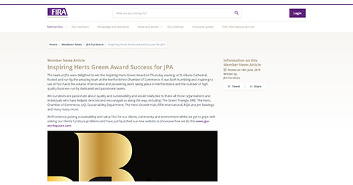 Inspiring Herts Green Award Success for JPA - The Furniture Industry Research Association