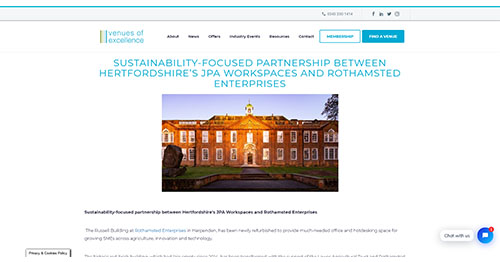 Sustainability-focused partnership between Hertfordshire's JPA Workspaces and Rothamsted Enterprises - Venues of Excellence
