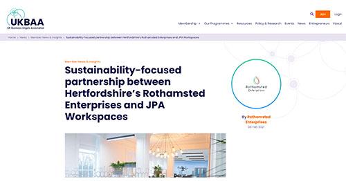 Sustainability-focused partnership between Hertfordshire's Rothamsted Enterprises and JPA Workspaces - UK Business Angels Association