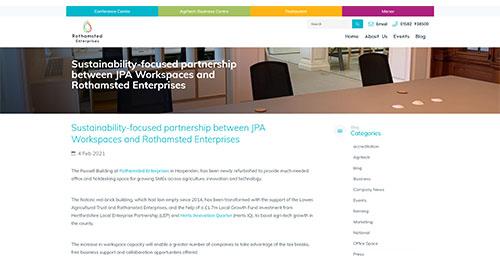 Sustainability-focused partnership between JPA Workspaces and Rothamsted Enterprises - Rothamsted Enterprises