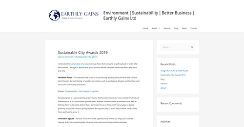 Sustainable City Awards 2019 – Environment - Sustainability - Better Business - Earthly Gains Ltd